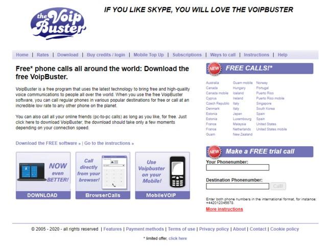 Ảnh 1: VoipBuster là ứng dụng phổ biến cho phép gọi điện thoại miễn phí từ máy tính đến mobile. (Nguồn: Internet)