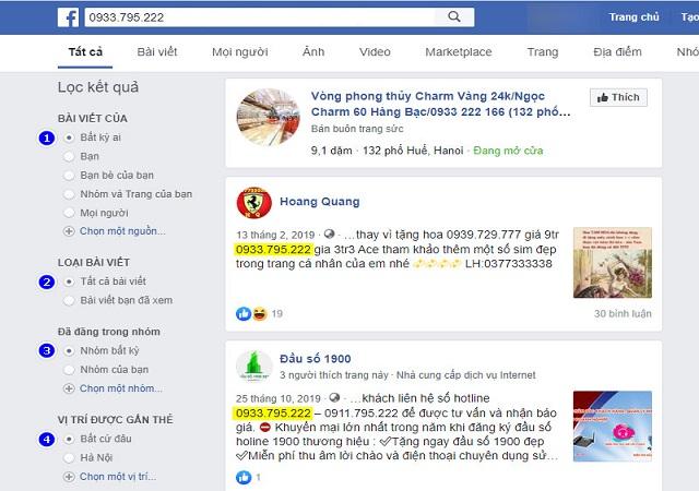 Tra số điện thoại qua Facebook