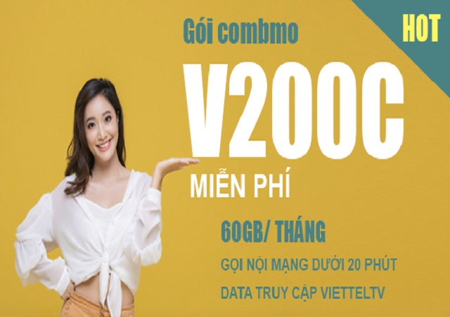 Đăng kí gói cước V200C miễn phí data và gọi nội mạng